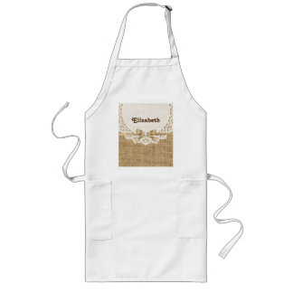 White doily with lace and linen natural burlap long apron