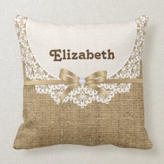 White doily with lace and linen natural burlap pillows