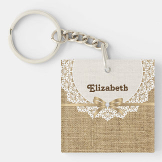 White doily with lace and linen natural burlap Single-Sided square acrylic keychain