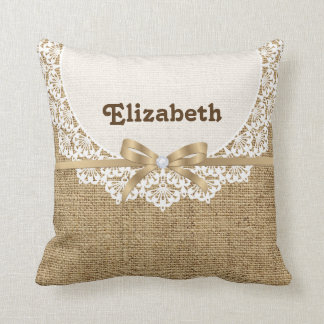 White doily with lace and linen natural burlap throw pillow