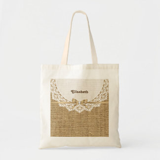 White doily with lace and linen natural burlap tote bag