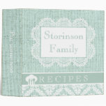 White doily with lace and mint green burlap recipe 3 ring binders