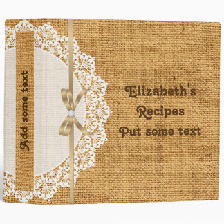 White doily with lace and orange burlap recipe 3 ring binder