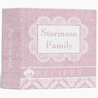 White doily with lace and pink burlap recipe 3 ring binder
