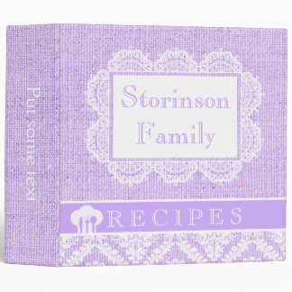 White doily with lace and purple burlap recipe binder