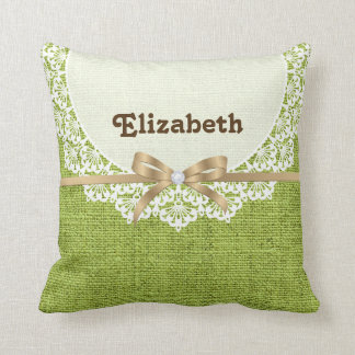 White doily with lace & lime green colored burlap throw pillow