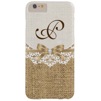 White doily with lace & natural burlap monogram barely there iPhone 6 plus case