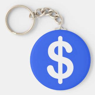 White dollar sign on blue background keychain