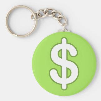 White dollar sign on green background keychain