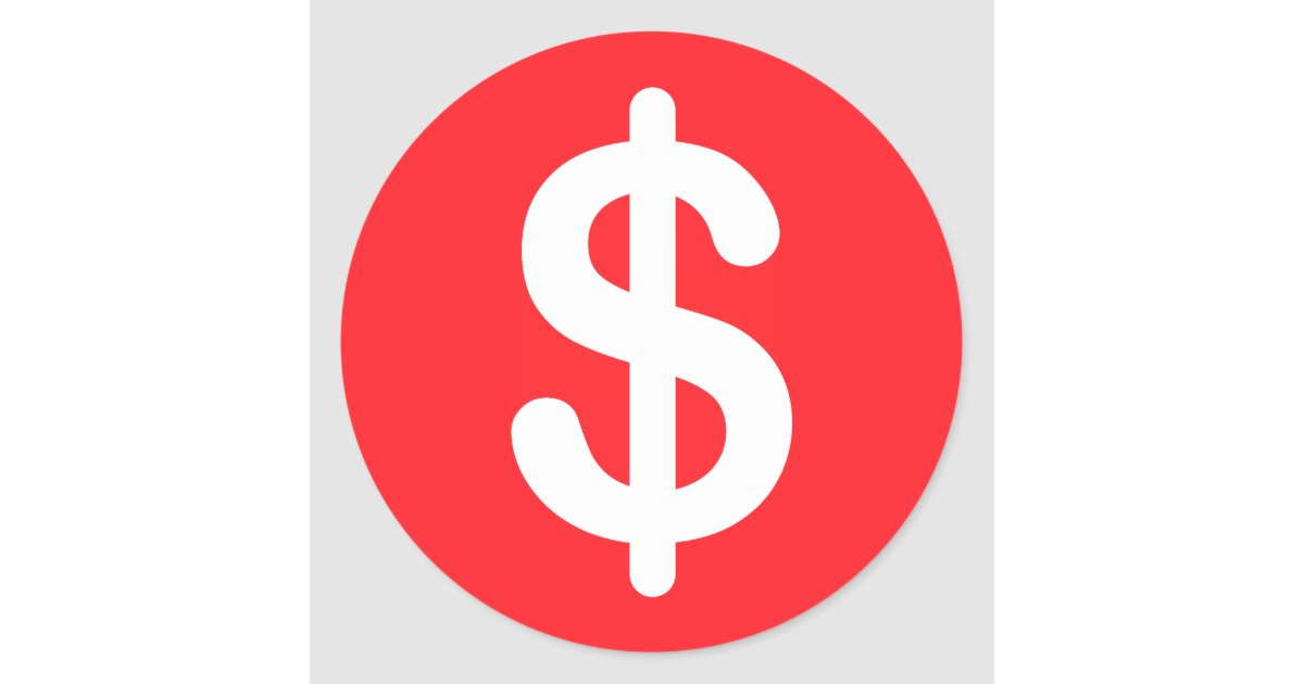 White dollar sign on red background stickers | Zazzle