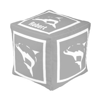 White DOLPHIN on grey: personalize with name Cube Pouf