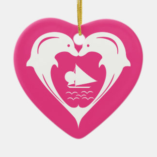 White Dolphins Heart Custom Background  Ornament