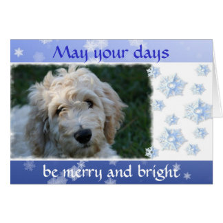 White Doodle Dog Christmas With Verse Greeting Card