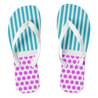 White Dots Grid & Stripes + your back & idea Flip Flops