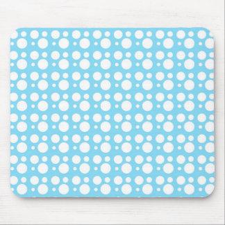 white dots, light blue mouse pad