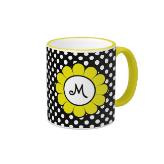 White Dots on Black Yellow Flower Mug