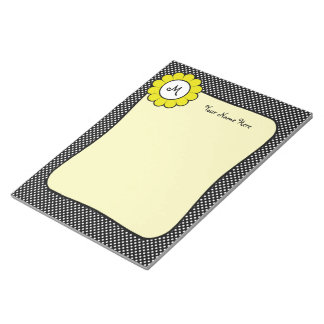 White Dots on Black Yellow Flower Note Pads