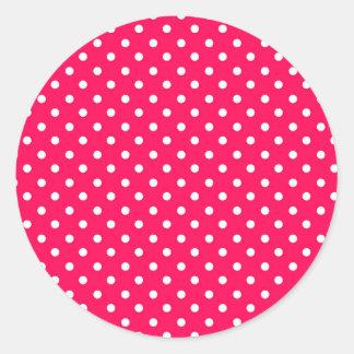 White Dots on Deep Pink Classic Round Sticker