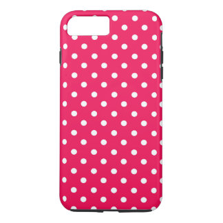 White Dots on Deep Pink iPhone 7 Plus Case