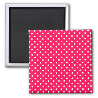 White Dots on Deep Pink Magnet