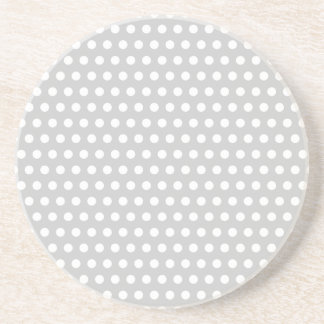 White Dots on Light Grey Sandstone Coaster