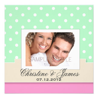 White dots on mint & pink & your photo invite