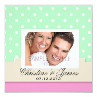"White dots on mint & pink & your photo invite 5.25"" square invitation card"