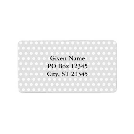 White Dots on Pale Gray Personalized Address Label
