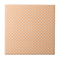 White Dots on Peach Background Ceramic Tile