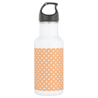 White Dots on Peach Background Water Bottle