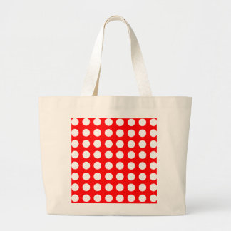 White dots on red, polka dots large tote bag