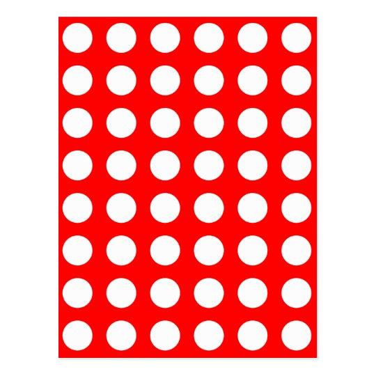White dots on red, polka dots postcard