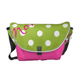 white dots over green spring background with name messenger bag