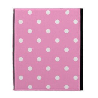 White Dots, Pink Polka Dots Pattern. iPad Folio Covers