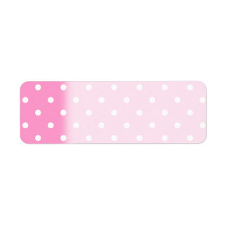 White Dots, Pink Polka Dots Pattern. Return Address Label