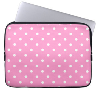 White Dots, Pink Polka Dots Pattern. Laptop Sleeve