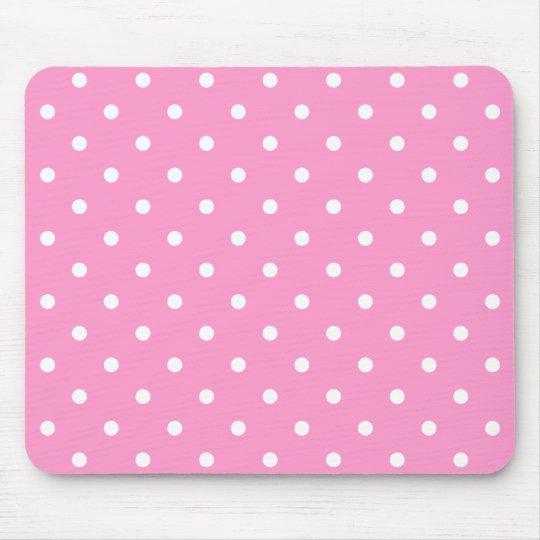 White Dots, Pink Polka Dots Pattern. Mouse Pad