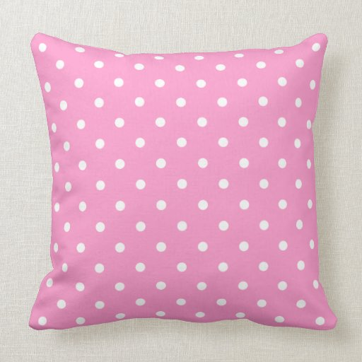 White Dots, Pink Polka Dots Pattern. Pillow