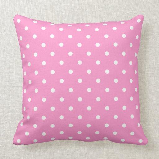 White Dots, Pink Polka Dots Pattern. Pillow