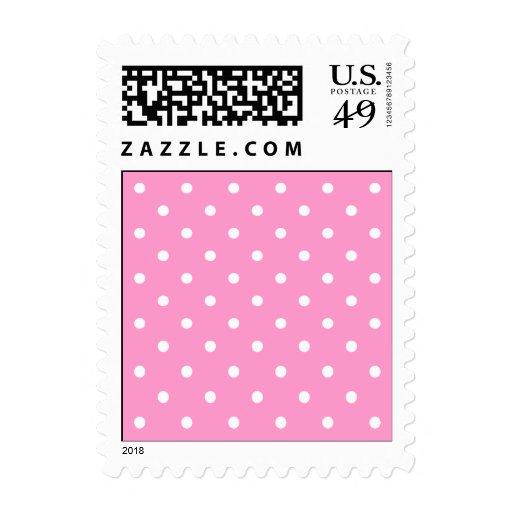 White Dots, Pink Polka Dots Pattern. Stamp