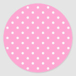 White Dots, Pink Polka Dots Pattern. Round Stickers