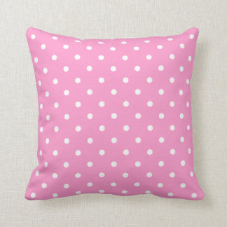 White Dots, Pink Polka Dots Pattern. Throw Pillow