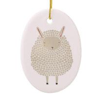 White Dots Round Sleeping Sheep Ceramic Ornament