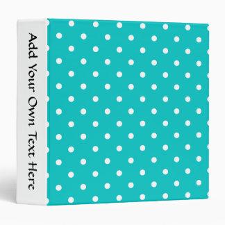 White dots, Teal Polka Dot Pattern. 3 Ring Binder
