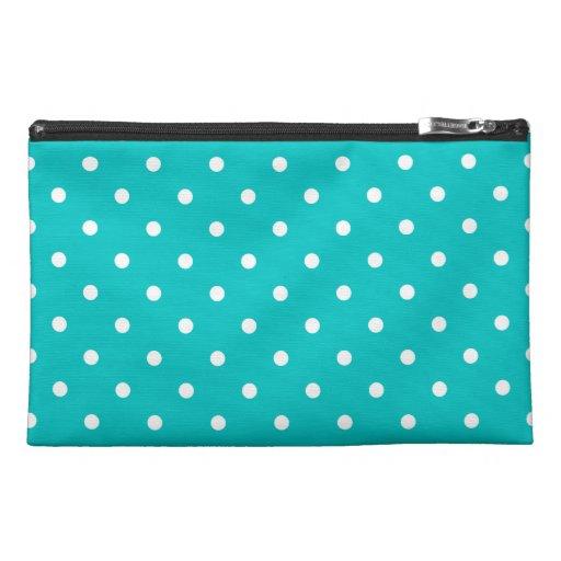 White dots, Teal Polka Dot Pattern. Travel Accessory Bag