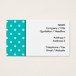 White dots, Teal Polka Dot Pattern. Business Card