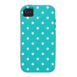 White dots, Teal Polka Dot Pattern. Case-Mate iPhone 4 Cover