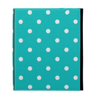 White dots, Teal Polka Dot Pattern. iPad Folio Covers