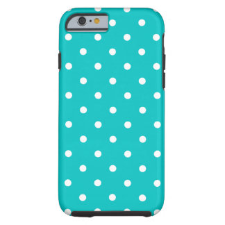 White dots, Teal Polka Dot Pattern. Tough iPhone 6 Case