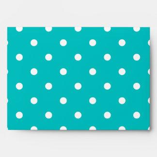 White dots, Teal Polka Dot Pattern. Envelopes